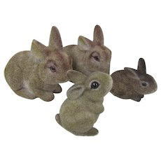 Collection of Vintage Flocked Bunnies with Glass Eyes