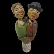 Vintage Kissing Couple Mechanical Wine Stopper Carved Wood Anri Style Bottle Stop