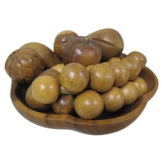 Bowl of wooden fruit - Monkey Pod wood - Made in the Phillipines