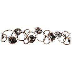 Mid Century Bracelet of Coiled Copper and Rings