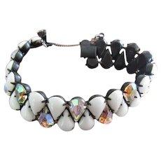 Bracelet White Glass and Aurora Rhinestones prongset in Black Metal