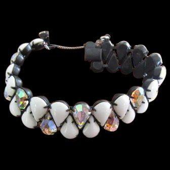Bracelet White Glass and Aurora Rhinestones prongset in Black Metal