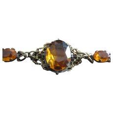 Bracelet - Brass Filigree with Amber glass jewels