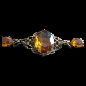 Bracelet - Brass Filigree with Amber glass jewels