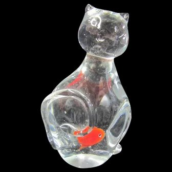 Murano Glass Cat with a Goldfish in its Belly!