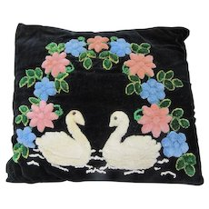 Vintage Shabby Chic Pillow  Swans and Flowers