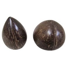Hand Crafted Coconut Shell Salt and Pepper Shakers
