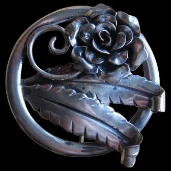 Sterling Flower and Leaf Pin/Brooch - Jewelart