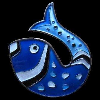 Sterling and Enamel Fish Pin/Brooch - David Andersen Norway