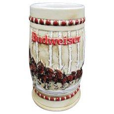 "1981 Budweiser Clydesdales ""Snowy Woodlands"" Beer Mug - Ceramarte"