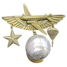 Jan Michaels Bar Pin, Globe, Star, Paratrooper, Wings, Airplane