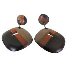 Fantastic! Mid Mod Wooden Clip On Earrings