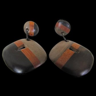 Fantastic! Mid Mod Wooden Clip On Earrings