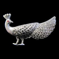 Peacock Pin Silver and Marcasite