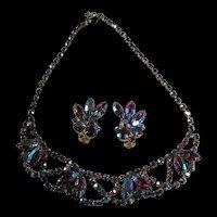 Gorgeous Choker Style Necklace and Earrings - Dark Aurora Rhinestones