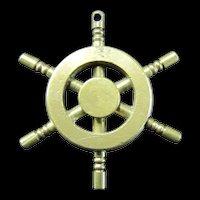 Miniature Brass Ships Wheel - Pendant or Key Fob