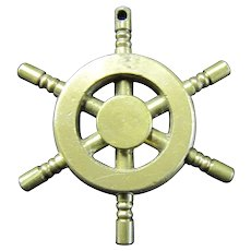 Miniature Brass Ships Wheel - Pendant or Key Fob
