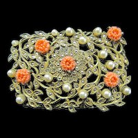 Large Brooch,  Colors of Gold, Coral and Pearl
