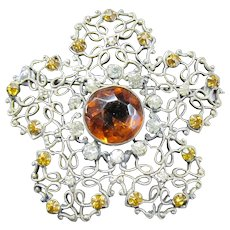 Large Flower Shaped Brooch Pin with Prong set Rhinestones