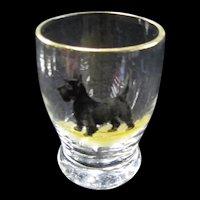 Set of 4 Cocktail Glasses, Gold Trim, Scotty Scottie Dogs
