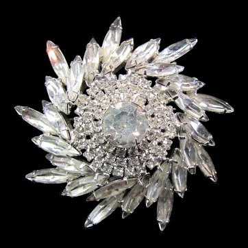 Weiss Large Pinwheel Brooch Pin Smokey Tipped stones