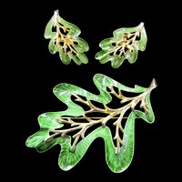 Sarah Coventry Large Leaf Brooch with Earrings