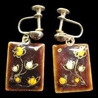 MId Century Modern Enamel on Copper Earrings