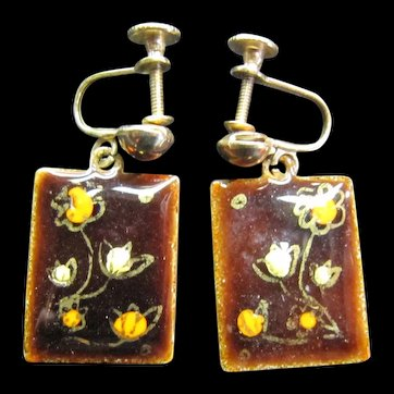 MId Century Modern Enamel on Copper Earrings