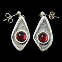 Modernist Earrings Red Glass Stones - Sweden