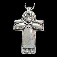 Fabulous Large Angel Cross - Sterling