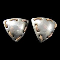 Large Brutalist Clip on Earrings, Sterling with Leather