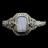 Sterling and Marcasite Bracelet with Large Glass Center Piece