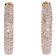 4.37 CTW Diamond Inside Out Huggie 18K Earrings