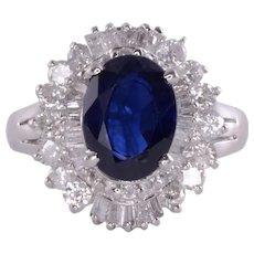 Baguette Sapphire & Diamond Platinum Ring