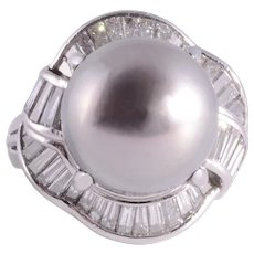 South Seas Pearl Platinum Ring