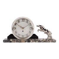 Deco Style Horse Motif Mantel Clock