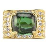 7.50 Carat Cabochon Green Tourmaline and Diamond Ring