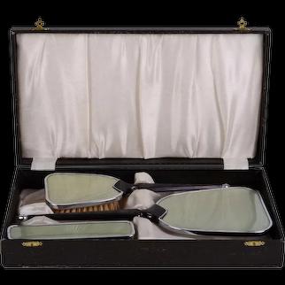 Enamel Vanity Dresser Set in Original Case