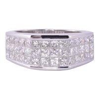 2.89 CTW Princess Cut Diamond Mens Ring