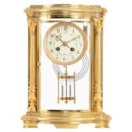 French Crystal Regulator in Gilt Brass Case