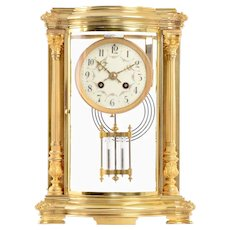 French Crystal Regulator in Gilt Brass Case