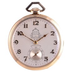 Hamilton 23 Jewel 14K Gold Presentation Pocket Watch