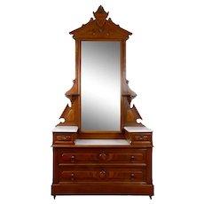 Marble Top Walnut Dresser with Mirror