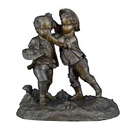 Small Bronze Sculpture Boys Scuffling