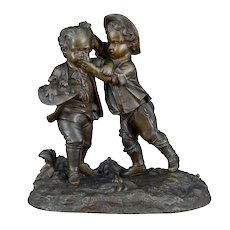 Small Bronze Sculpture Boys Scuffling