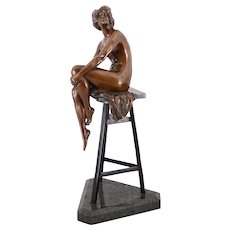 German Bronze Sculpture of Woman On a Stool Signed Gladenbeck