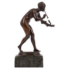 Rudolph Kaesbach Bronze Sculpture Snake Charmer