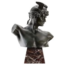Raymond Sudre Winged Mercury Bronze Sculpture with Foundry Coin