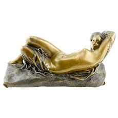 Unsigned Reclining Nude Bronze Sculpture
