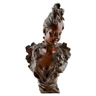 Bronze Sculpture Bust of Woman and Flowers Signed by Artist